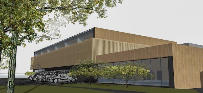 Slik ser arkitektfirmaet Vikanes Bungum for seg at ein ny symjehall ved Vigdartun og sentralidrettsanlegget kan sjå ut.