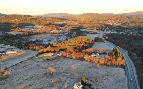 Dronefoto frå Bjelland.