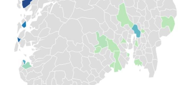 Klikk på dei fargelagde kommunane, og sjå kor mange som har reist vekk for å studera på dei ulike stadene mellom 2010 og 2019.