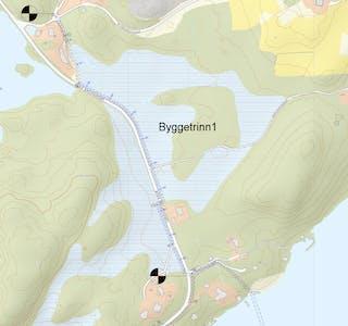Første byggetrinn frå Kvalvågnes mot Fjon er vedteke. Skjermdump frå kart i saka, utarbeida av Omega.